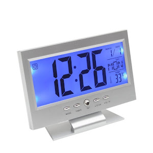 Ceas de birou cu ecran LCD si control vocal