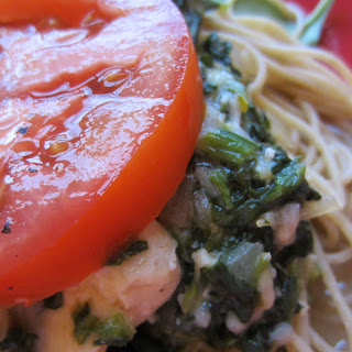 Chicken Florentine with Pasta and Fresh Tomatoes.