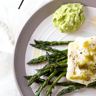 Roasted Cod with Asparagus and Jalapeño Dressing.