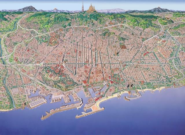 Mapa de Barcelona realizado por Juan Núñez.