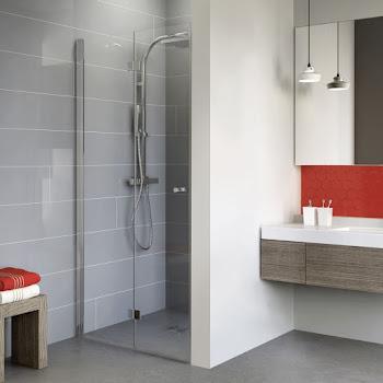 Porte de douche pivotante-pliante, 80 ou 90 cm