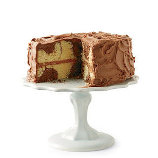 Marble Cake with Chocolate Frosting.