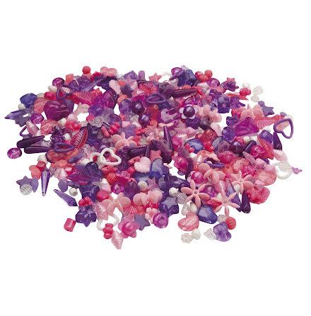 Plastpärlor lila&rosa  1000/fp