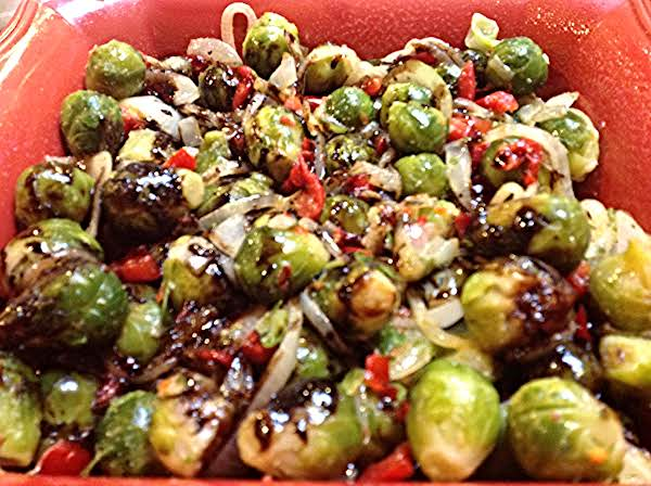 Brussels Sprouts W/onions-bacon & Balsamic Glaze Recipe