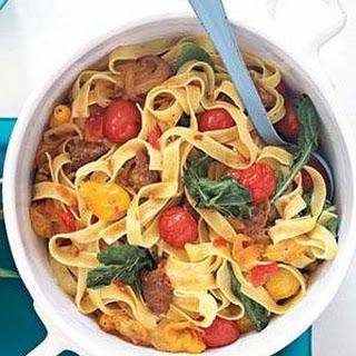 Hot Italian Sausage and Tomato Pasta.