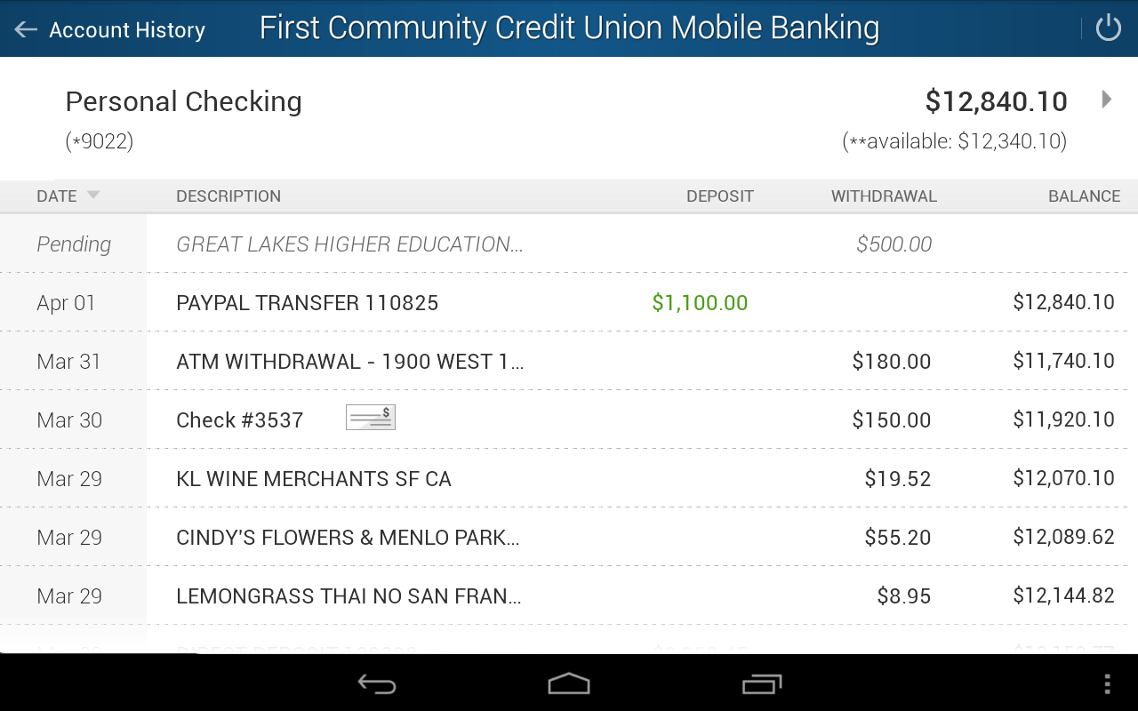 First Community Credit Union- screenshot