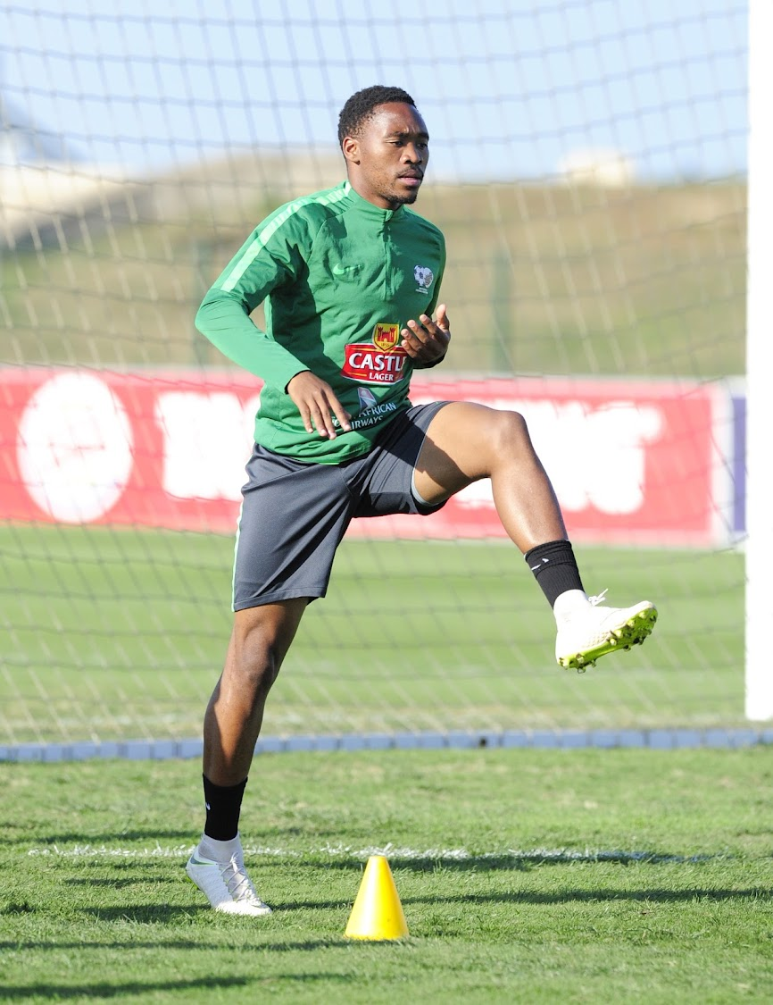 Mamelodi Sundowns forward Sibusiso Vilakazi trains during the Bafana Bafana training session at Princess Magogo Stadium in Durban September 3 2018.