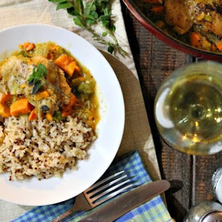 Braised Chicken Thighs with Sweet Potatoes and Leeks.