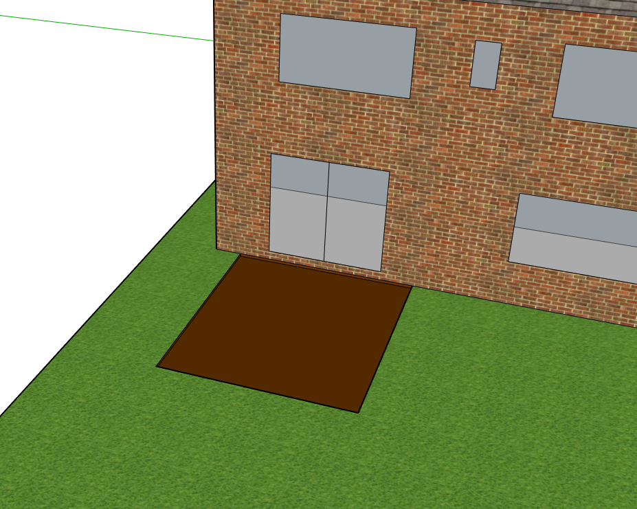 Diagram of step 1: digging out are area to lay the decking on soil