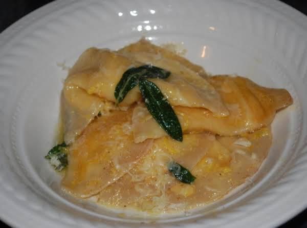 Pumpkin Ravioli With Brown Butter Sage Sauce