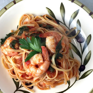 Linguine with Shrimp, Spinach and Vodka Sauce.