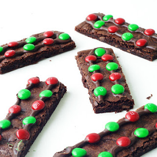Chewy Chocolate M&M Brownie Bark