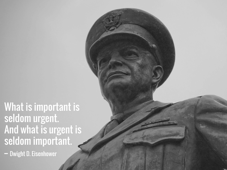 What is important is seldom urgent. And what is urgent is seldom important. -- Dwight D. Eisenhower.