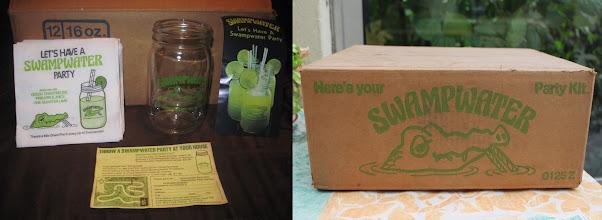 Photo: Le kit Swampwater complet ! Dans ce carton est inclus tout le nécessaire pour une Swampwater party : 12 verres, des serviettes, une fiche cartonnée et même un bon pour recevoir un jeu de plateau décliné de campagne publicitaire du même nom !