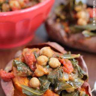 Braised Collard Greens Stuffed Sweet Potatoes