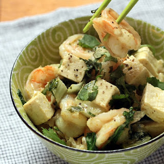 Thai Green Curry Tofu With Shrimp, Bok Choy, And More Dark Leafy Greens