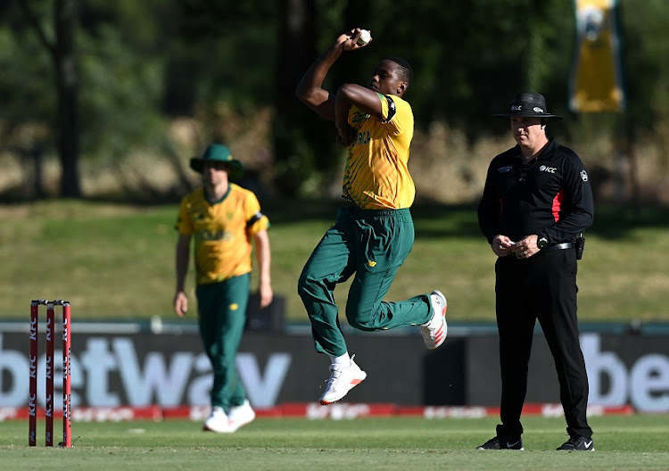 Kagiso Rabada of South Africa bowls during the 2nd T20 International match between South Africa and England at Boland Park on November 29, 2020 in Paarl, South Africa.
