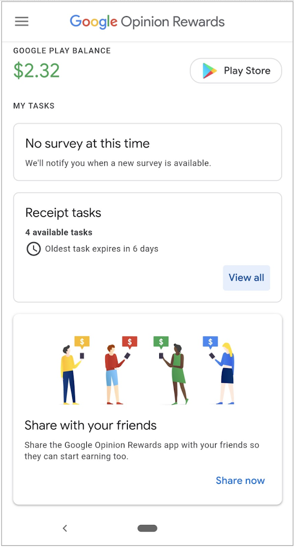 The Google Opinion Rewards home screen.