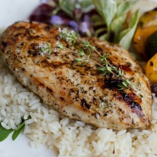 Thyme Chicken and Rice Skillet Dinner.