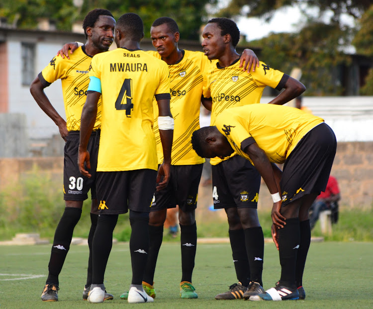 Murang'a Seals players react during a past NSL match