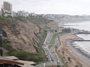 Photo: The Costa Verde, Lima. Yes it has spots of green but more prominent are those steep gravel cliffs.