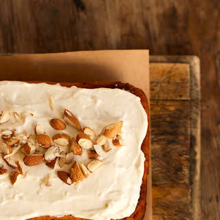 A Healthier Spiced Carrot Cake with Maple Orange Icing.