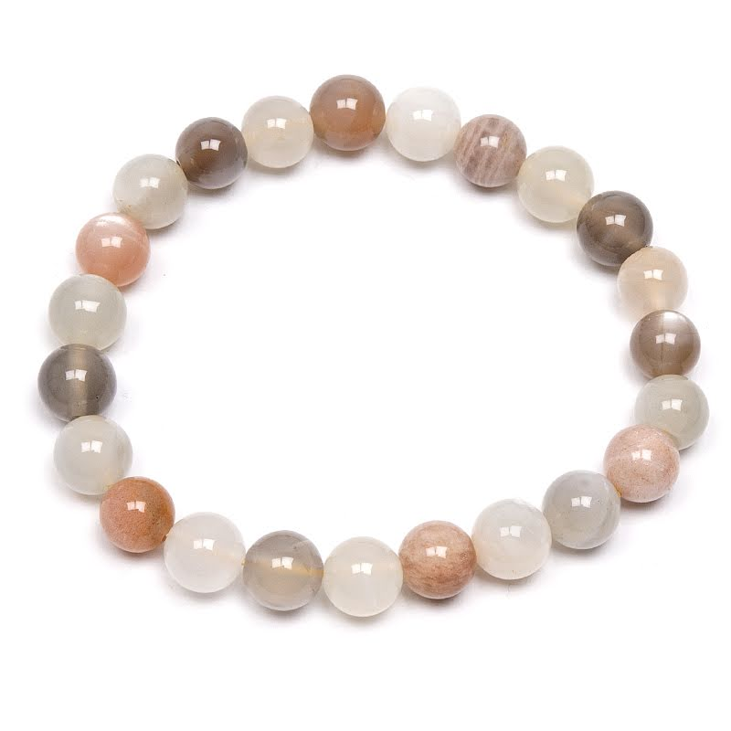 Månsten, armband med runda pärlor