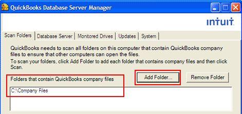 Quickbooks Database Server Manager for Adding Folder