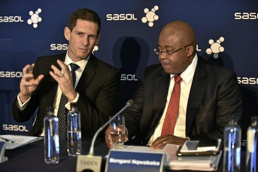 Plan of action: Sasol chief financial officer Paul Victor and joint CEO Bongani Nqwababa at a presentation in Johannesburg. Victor says lessons learnt from Sasol Inzalo are being applied to the design of a new empowerment structure. Picture: FREDDY MAVUNDA