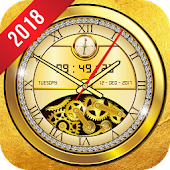 Golden Clock live wallpaper 2018 Gold Glitter Free