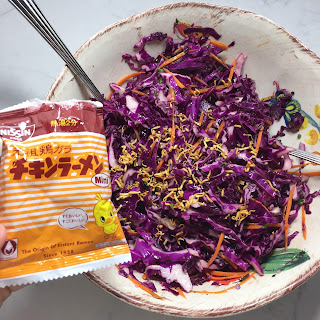 Shredded Red Cabbage Salad with Fresh herbs and Carrots.