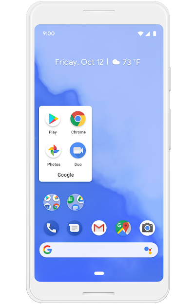 A Google phone screen showing a limited number of apps on a homescreen and apps embedded within folders.