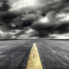 Yellow line by Haavard Lien - Landscapes Prairies, Meadows & Fields ( cloud formations, clouds, artisitc, airport, horizon, cloudscape, yellow, road )
