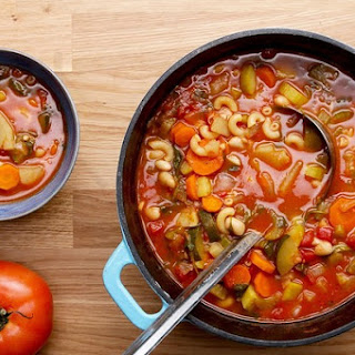 Healthy Summer Vegetable Minestrone Soup.