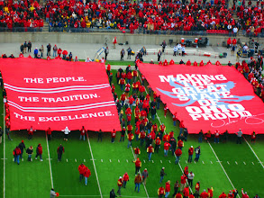 Photo: All former players walked between this two banners to form the 'Tunnel of Pride'