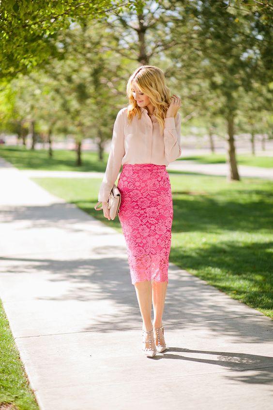 first-date-outfit-ideas-for-women_silk_shirt__lace_pencil_skirt