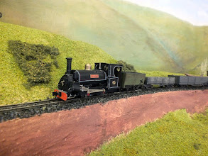 Photo: 023 Hunslet 0-4-0ST Blanche makes her way across the embankment outside Slaggyford .