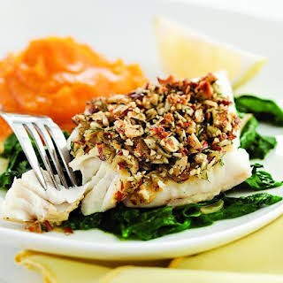 Almond-&-Lemon-Crusted Fish with Spinach.