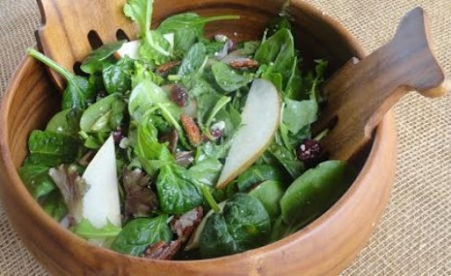 Awesome Maple-Balsamic Blue Cheese Pear Salad