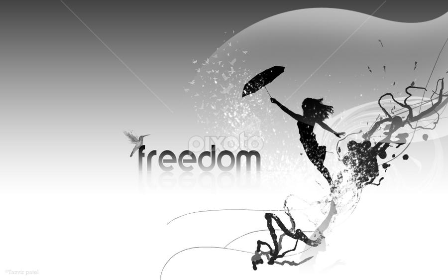 FREEDOM by Tanvir Patel - Typography Words ( free, freedom, female, independence, enjoy )