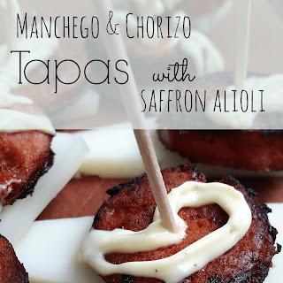 Manchego & Chorizo Tapas with Saffron Alioli #SundaySupper.
