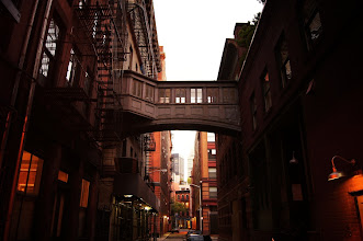 Photo: Skybridge and fire escapes.   Tribeca, New York City.  View the writing that accompanies this post here at this link on Google Plus:  https://plus.google.com/108527329601014444443/posts/Gdg9Q1FXAbQ  View more New York City photography by Vivienne Gucwa here:  http://nythroughthelens.com/