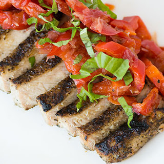 Grilled Pork with Marinated Pepper Strips.
