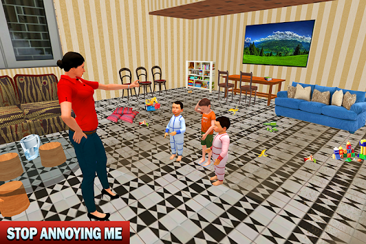 Virtual Happy Mother Twins Baby Family Game