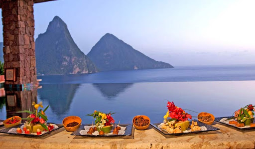 A culinary event at the upscale Jade Mountain in St. Lucia, within sight of the Pitons.