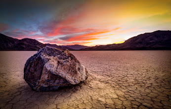 Photo: Racetrack Playa v.2 This was the biggest rock I could find on the Racetrack in Death Valley. I had to walk quite a ways to find it... and in a hurry, too. The light was fading fast. This rock seemed like it hadn't moved in quite a while, but is sure was cool looking.