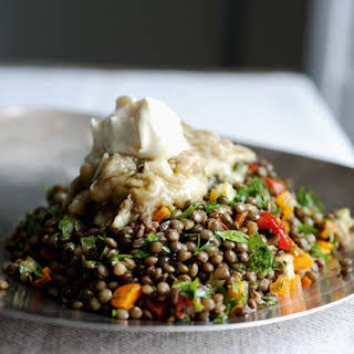 Lentils With Broiled Eggplant.