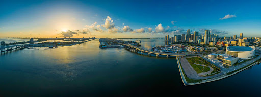 A panorama of the skyline of Miami.