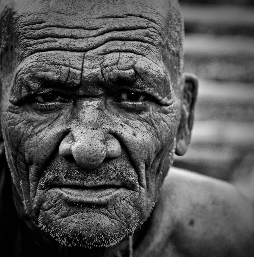 The Age Lines by Jasminder Oberoi - People Portraits of Men ( monchrome, black and white, old man, portrait, man )