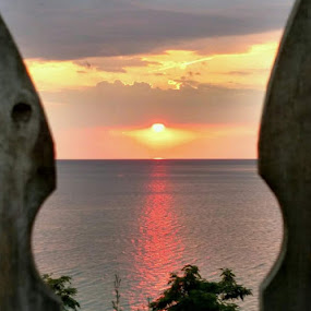 Sunset Through the Fence Over Lake Michigan by Jennifer Smusz - Landscapes Sunsets & Sunrises ( #lake, #fence, #sunset )